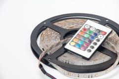 Den RGB ledde remsan och IR färgar controlerfjärrkontrollen Royaltyfri Fotografi