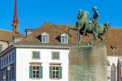 Den rid- monumentet till Hans Waldmann 1937, Zurich, Switzer Royaltyfria Bilder