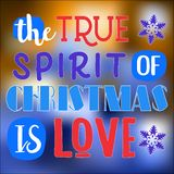 Den riktiga anden av jul är förälskelse Jul citerar Typografi för julkortdesignen, affisch, royaltyfri illustrationer