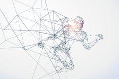 Den rinnande mannen, nätverksanslutning vände in i vektor illustrationer