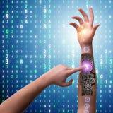 Den robotic knappen för trycka på för hand i futuristiskt begrepp Royaltyfria Bilder