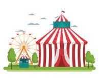 Den roliga cirkusen med karneval shoppar och lekar stock illustrationer
