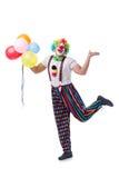 Den roliga clownen med ballonger som isoleras på vit bakgrund royaltyfri foto