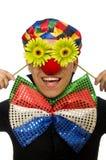 Den roliga clownen med blommor som isoleras på vit Royaltyfria Bilder