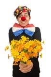Den roliga clownen med blommor som isoleras på vit Royaltyfria Foton