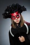 Den roliga deveilen i det halloween begreppet Fotografering för Bildbyråer