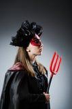 Den roliga deveilen i det halloween begreppet Arkivfoto