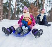 Den roliga familjen åka släde in vinter-landskap Arkivfoto