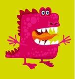 Den roliga felika draken med stora tänder och öppnar kramen Fotografering för Bildbyråer