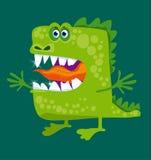Den roliga felika draken med stora tänder och öppnar kramen Arkivfoto