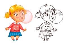 Den roliga flickan blåser upp en bubbla av gummi stock illustrationer