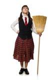 Den roliga flickan med kvasten som isoleras på vit Royaltyfri Fotografi