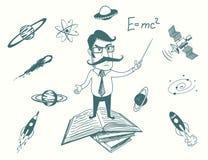 Den roliga forskaren står på böcker Royaltyfri Bild