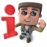 Den roliga fotvandraren för tecknade filmen 3d spanar teckenet som rymmer ett informationssymbol royaltyfri illustrationer