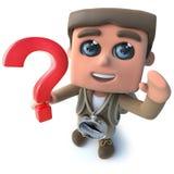Den roliga fotvandraren för tecknade filmen 3d spanar teckenet som rymmer ett symbol för frågefläck royaltyfri illustrationer