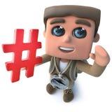 Den roliga fotvandraren för tecknade filmen 3d spanar teckenet som rymmer ett symbol för pölsaetikettshashtag vektor illustrationer