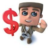 Den roliga fotvandraren för tecknade filmen 3d spanar teckenet som rymmer ett US dollarvalutasymbol stock illustrationer