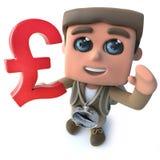 Den roliga fotvandraren för tecknade filmen 3d spanar teckenet som rymmer UK, dunkar fullödig valuta royaltyfri illustrationer