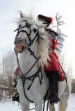 Den roliga galna vita hästen i kontrollen, som ryttaren sitter på i en röd jetnokostjume, står under vinterbygden arkivfoto