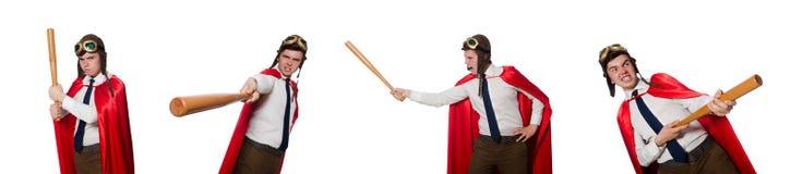 Den roliga hjälten som isoleras på viten fotografering för bildbyråer