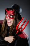 Den roliga jäkeln i det halloween begreppet Arkivbild