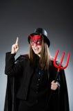 Den roliga jäkeln i det halloween begreppet Arkivfoton