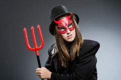 Den roliga jäkeln i det halloween begreppet Arkivfoto