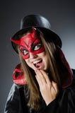 Den roliga jäkeln i det halloween begreppet Royaltyfri Fotografi