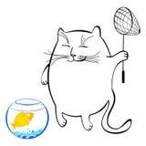 Den roliga katten med fisken förtjänar Serie av komiska katter Fotografering för Bildbyråer