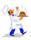 Den roliga kocken med den dofta maträtten räcker in stock illustrationer
