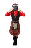 Den roliga kvinnan i skotska kläder med film Arkivbild