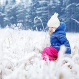 Den roliga lilla flickan som har gyckel i vinter, parkerar Royaltyfri Fotografi