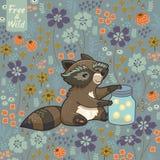 Den roliga lilla tvättbjörnen samlar syrsor Arkivfoton