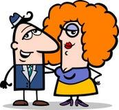 Den roliga manen och kvinnan kopplar ihop tecknad film Arkivbild