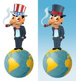 Den roliga mannen i den bästa hatten och i den patriotiska hatten röker en cigarr vektor illustrationer