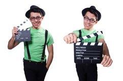 Den roliga mannen med filmbrädet royaltyfri bild