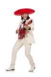 Den roliga mexikanen i den hållande gitarren för dräkt som isoleras på vit arkivfoto