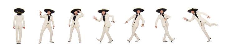 Den roliga mexikanen i dr?kt och sombrero som isoleras p? vit royaltyfria foton