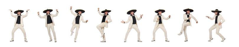 Den roliga mexikanen i dr?kt och sombrero som isoleras p? vit royaltyfria bilder
