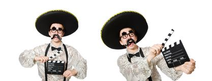 Den roliga mexikanen med filmbrädet arkivfoto
