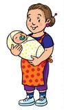Den roliga modern eller barnflickan med behandla som ett barn för färgläggningdiagram för bok färgrik illustration Arkivfoton