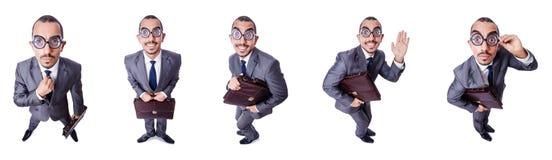 Den roliga nerdaffärsmannen som isoleras på vit Royaltyfri Fotografi