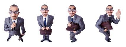 Den roliga nerdaffärsmannen som isoleras på vit Arkivfoto