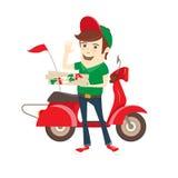 Den roliga pizzapojken som levererar pizza, boxas sparkcykeln Plan vektorillustration Royaltyfri Bild