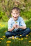 Den roliga pojken med maskrosor i en gräsplan parkerar. sommar Royaltyfri Fotografi