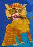 Den roliga röda randiga katten som ett barn ser honom royaltyfri illustrationer