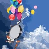 Den roliga tecknad filmkatten med korven flyger på ballongerna royaltyfri illustrationer
