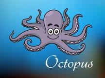 Den roliga tecknade filmen behandla som ett barn bläckfisken stock illustrationer