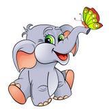 Den roliga tecknade filmen behandla som ett barn elefanten med fjärilen Arkivbilder