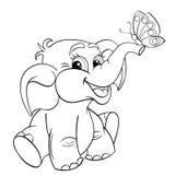 Den roliga tecknade filmen behandla som ett barn elefanten med fjärilen Royaltyfri Bild